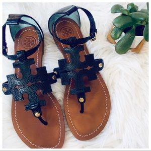TORY BURCH Leather Sandals Black + Gold